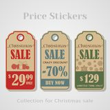 Christmas Sale Tags, stickers, badges, labels or banner for your sales Royalty Free Stock Photo