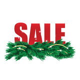 Christmas Sale Tags. And Christmas tree with decorations royalty free illustration