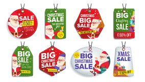 Christmas Sale Tags Vector. Flat Christmas Special Offer Stickers. Santa Claus. 50 Off Text. Hanging Red, Green, Blue. New Year Sale Tags Vector. Colorful Stock Images
