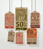 Christmas sale tags. Vintage style tags and labels Royalty Free Stock Photo