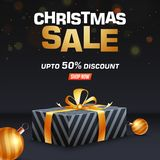Christmas Sale template design with 50% discount offer, 3d gift. Box and baubles for festival celebration royalty free illustration