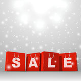Christmas sale template. Christmas sale red paper shopping bags template Stock Photography