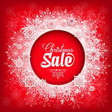 Christmas Sale Text in Circle of Snow Flakes Stock Photos