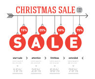 Christmas sale time line graph. Vector infographics with balls a Royalty Free Stock Images