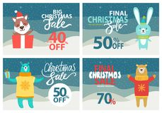 Christmas Sale Up to 40 Off Vector Illustration. Christmas sale up to 40 off holiday discount on posters that include images of puppy in present box, rabbit and Royalty Free Stock Image