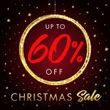 Christmas Sale up to 60 % off star banner. Christmas sale design template with text up to -60% off in shine ball and golden stars on red background. Vector stock illustration