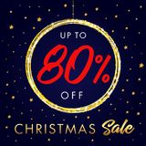 Christmas Sale up to 80 % off star banner. Christmas sale design template with text up to -80% off in shine ball and golden stars on red background. Vector Royalty Free Stock Photo