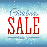Christmas sale. Vector background with snowflakes and shining sparks. Badge. Inscription. Stock Images