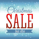 Christmas sale. Vector background with snowflakes and shining sparks. Badge. Inscription. Stock Photos