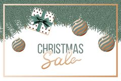 Christmas sale. Vector banner. With gift stock illustration