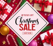 Christmas sale vector banner design with sale discount text in white space royalty free stock images