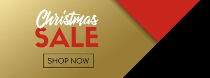 Christmas Sale Vector Banner Template. Black And Gold Stock Photo