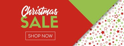 Christmas Sale Vector Banner Template. Shop Now Royalty Free Stock Photography
