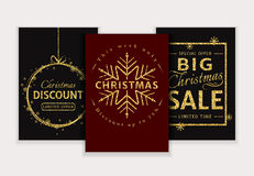 Christmas sale. Vector glitter banners set. Christmas Sale and discount templates. Set of chic banners, flyers or labels. Red and black cards with gold glitter Royalty Free Stock Photo