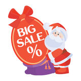 Christmas Sale Vector Icon. Santa with Poster Royalty Free Stock Photo