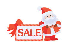 Christmas Sale Vector Icon. Santa with Poster Stock Images