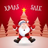 Christmas Sale. Vector illustration Santa Claus cartoon character emotion surprise. Christmas Sale. Santa Claus cartoon character emotion surprise Vector Royalty Free Stock Photos