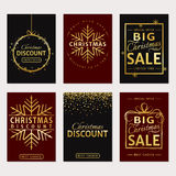 Christmas sale. Vector luxury banners set. Christmas Sale and discount templates. Set of luxury banners, flyers or labels. Red and black cards with gold Stock Images