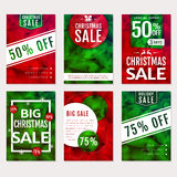 Christmas sale. Vector polygonal banners set. Stock Photos