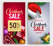 Christmas sale vector poster design set with sale promotional text royalty free stock photos