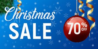 Christmas sale vector poster, happy new year discount banner stock illustration