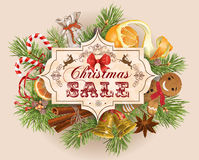 Christmas sale vintage banner. Vector Christmas sale vintage banner with traditional decoration, Christmas tree branches and sweets. Design for any kind of Royalty Free Stock Photography