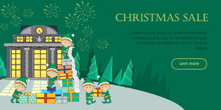 Christmas Sale Web Banner. Elves Packing Presents. Christmas sale web banner. Christmas elves packing presents gift boxes according to wish list. Big Xmas sale Royalty Free Stock Images