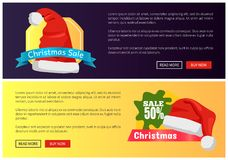 Christmas Sale Web Banners Buttons Santa Claus Hat. Christmas sale web banners push buttons, Santa Claus hat and discount labels vector illustration Royalty Free Stock Photos