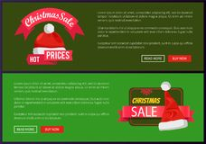 Christmas Sale Web Banners Buttons Santa Claus Hat. Christmas sale web banners with push buttons, Santa Claus hat on discount labels, winter snowflake vector Stock Photo