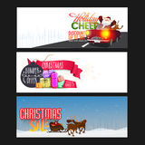 Christmas Sale web header or banner set. Christmas Sale website header or banner set with Santa Claus in car, colorful gifts and reindeer sleigh Stock Photography