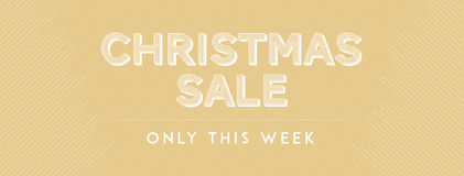 Christmas sale only this week. Inscription Christmas sale only this week on gold background Royalty Free Stock Images
