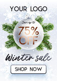 The Christmas sale. White banner for site. The Christmas sale. Discounts up to 75 percent. Banner for website. Realistic vector. Black, green and white colors Stock Image