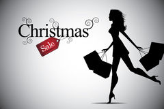 Christmas sale woman shopping bag background Royalty Free Stock Photos