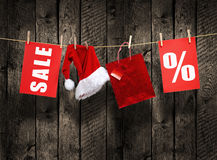 Christmas SALE on wood background Royalty Free Stock Images