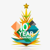 Christmas sale, 10 year warranty label. Holiday. Tag with reflection. Vector illustration Royalty Free Stock Photography