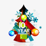 Christmas sale, 10 year warranty label. Holiday. Tag with reflection. Vector illustration Royalty Free Stock Images