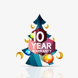 Christmas sale, 10 year warranty label. Holiday. Tag with reflection. Vector illustration Royalty Free Stock Photos