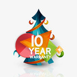 Christmas sale, 10 year warranty label. Holiday. Tag with reflection. Vector illustration Royalty Free Stock Photo