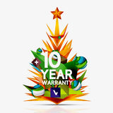 Christmas sale, 10 year warranty label. Holiday. Tag with reflection. Vector illustration Stock Photo