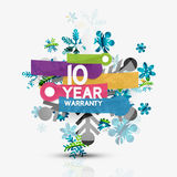 Christmas sale, 10 year warranty label. Holiday. Tag with reflection. Vector illustration Stock Images
