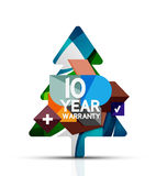 Christmas sale, 10 year warranty label. Holiday. Tag with reflection. Vector illustration Stock Photography