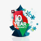 Christmas sale, 10 year warranty label. Holiday. Tag with reflection. Vector illustration Royalty Free Stock Image