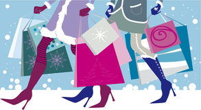Christmas sales. Vector illustration of two girls with shopping bags in winter Stock Illustration