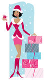 Christmas sales. Vector illustration of a salesgirl in Santa costume with gifts boxes royalty free illustration