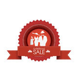 Christmas sales badge with fashionable elements. Stock Image