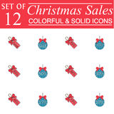 Christmas sales and balls with ribbons color icons. Christmas sales and balls with ribbons colorful pictograms package, symbols collection, vector sketches Royalty Free Stock Photography