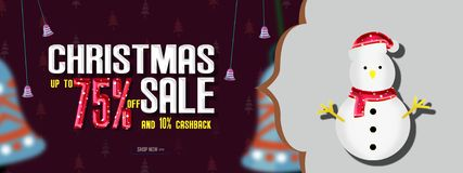 Christmas sales banner, Christmas Offer Template Design with 75% Discount. Christmas sales banner, Christmas Offer Template Design vector illustration