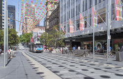 Christmas Sales, Bourke Street, Melbourne, Australia. A festive atmosphere is provided for Christmas shoppers in Bourke Street Mall, Melbourne, Australia. Bells Royalty Free Stock Photography