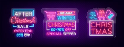 Christmas sales, collection neon signs signs advertising bright festive discounts. Set of cards New Year sales, a. Luminous banner. Winter discounts, flyers for Royalty Free Stock Photos
