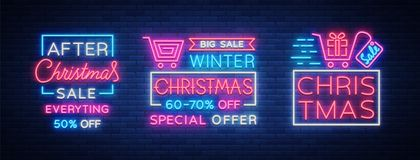 Christmas sales, collection neon signs signs advertising bright festive discounts. Set of cards New Year sales, a. Luminous banner. Winter discounts, flyers for Stock Photography